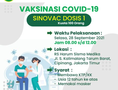 Pelayanan Vaksinasi Covid19 Sinovac dosis 1